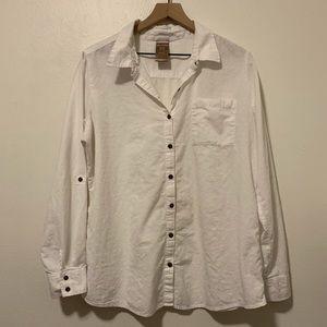 Women's white button down blouse